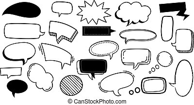 discurso, garabato, cómico, dibujado, caricatura, conjunto, vector, tags., elements., moderno, negro, ilustración, diseño, texto, caricaturas, nubes, banderas, bubbles., comunicación, mano, pegatina