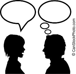 Discurso y diálogo, hombre y mujer, dicen que escuchen y piensen