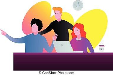 discusión, colors., ilustración, vibrante, equipo, oficina