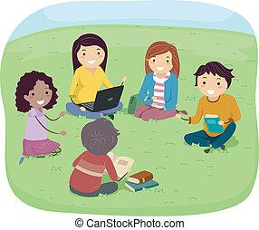 Discusión de grupo adolescente