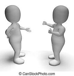 Discusión entre dos personajes 3d que muestran comunicación