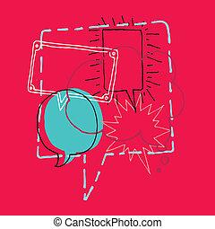 discusión, /, idea genial, discurso, charla, burbujas, o
