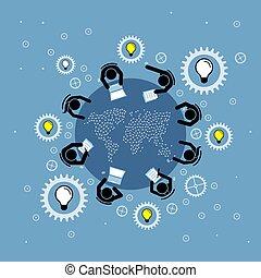 discutir, grupo, mapa, gente, redondo, poniendo común, cima, vista., mundo, tabla