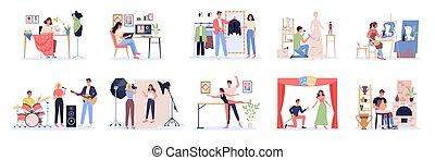 diseñador, artista, creativo, set., trabajo, ocupación, bailarín