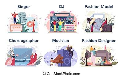 diseñador, bailarín, ocupación, trabajo, creativo, moda, set., dj