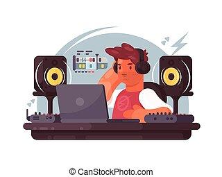 Diseñador de sonido en el lugar de trabajo