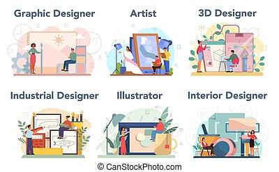 diseñador, diseñador, set., industrial, 3d, gráfico, interior, concepto