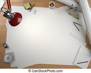 diseñador, espacio, elementos, tabla, copia, dibujo