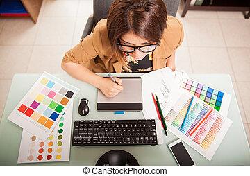 diseñador, gráfico, ella, oficina