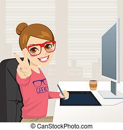 diseñador, gráfico, mujer, hipster, trabajando