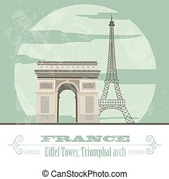 diseñar, francia, landmarks., retro