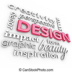 Diseñar palabras collage estilo creativo de perspectiva