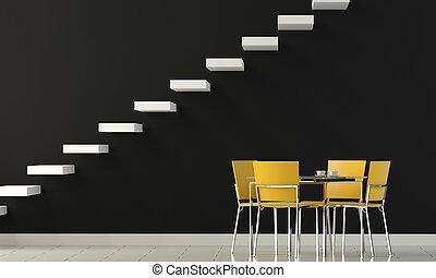 Diseñar pared negra con sillas amarillas