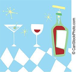 diseñar, retro, bebidas