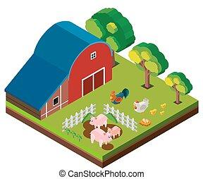 Diseño 3D para la escena del granero con muchos animales