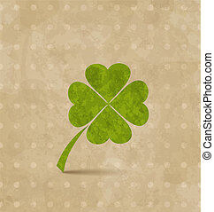 Diseño antiguo con trébol de cuatro hojas para el día de San Patrick