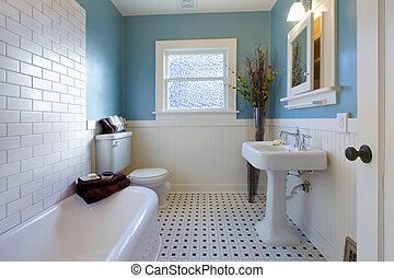 Diseño antiguo de lujo de baño azul