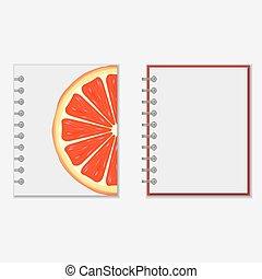 diseño, brillante, toronja, cubierta, cuaderno