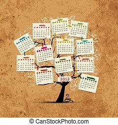 diseño, calendario, árbol, su, 2013
