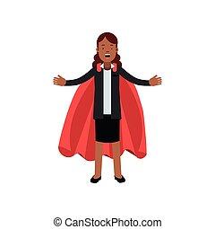 diseño, chaqueta, joven, vector, de par en par, africano, carrera, rojo, falda, empresa / negocio, cape., open., negro, caricatura, plano, leadership., mujer, carácter, dama, superhero, brazos