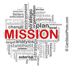 diseño, circular, palabra, misión, etiquetas