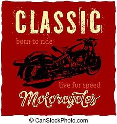 Diseño clásico de motocicletas para camisetas, posters, tarjetas de felicitación, etc.