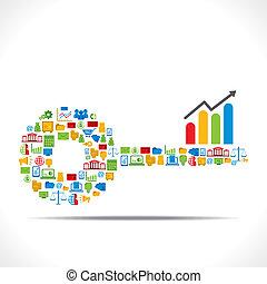 Diseño clave con icono de negocios