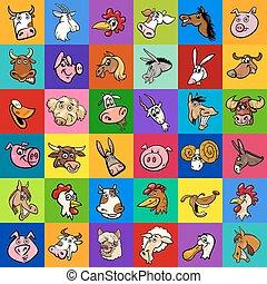 Diseño con animales de granja de dibujos animados