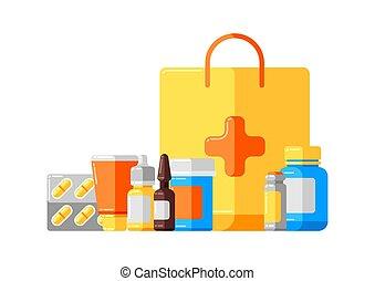 Diseño con frascos de medicina y pastillas.