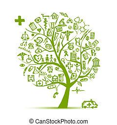 diseño, concepto médico, árbol, su