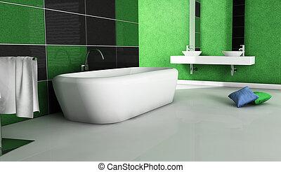 Diseño contemporáneo del baño verde