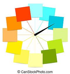 Diseño creativo de reloj con etiquetas para su texto