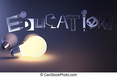 Diseño creativo dibujado a mano palabra EDUCACIÓN y bombilla 3D como concepto