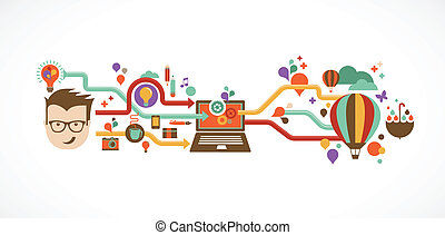 Diseño, creativo, idea e información de innovación