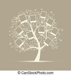 Diseño de árbol genealógico, inserte sus fotos en cuadros