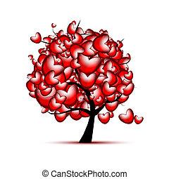 Diseño de árboles de amor con corazones rojos para el día de San Valentín