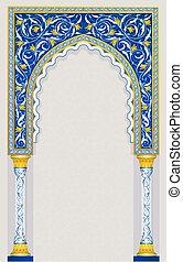 Diseño de arcos islámicos en azul clásico