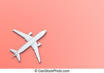 Diseño de aviones de juguete en miniatura sobre fondo de coral vivo. La idea de boletos para el viaje, viajar en avión, nuevos descubrimientos, vacaciones de verano