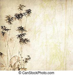 Diseño de bambús chinos con textura de papel a mano