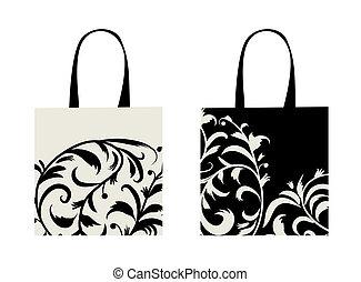 Diseño de bolsas, adornos florales