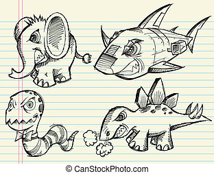 Diseño de bosquejos de animales listo