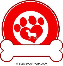Diseño de círculos rojos con patas