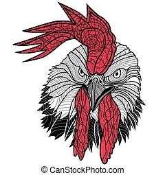 Diseño de cabezas de gallos de pollo para camisetas aisladas en fondo blanco. Un tatuaje de ilustración de vectores de un pene.