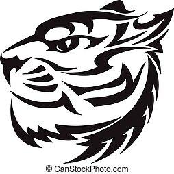 Diseño de cabezas de tigre, grabado vintage.