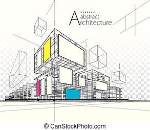 Diseño de construcción abstracto de arquitectura 3D.