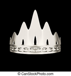Diseño de coronas de plata aislado en el fondo negro
