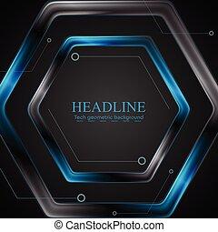Diseño de diseño tecnológico de Hexagon negro y azul