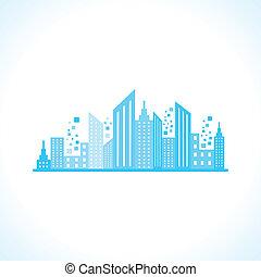Diseño de edificio azul abstracto