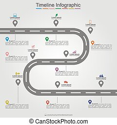 Diseño de elementos de la línea temporal de la carretera. Vector