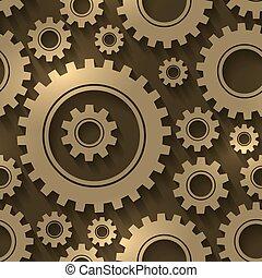 Diseño de equipos de fondo abstracto. Los engranajes y los engranajes vectorizan patrones sin costura